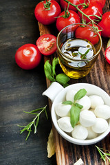 Italian Cooking Ingredients, Mozzarella, Basil, Olive Oil and Ch