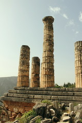 Columns of the temple of Apollo at Ancient Delphi