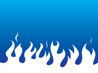 Simple white flames on blue background