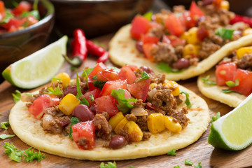 tortillas with chili con carne and tomato salsa