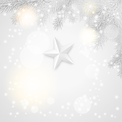 gray christmas background with branches and star