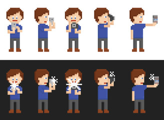 pixel art set of person making pictures