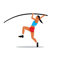 Pole vaulting vector sign