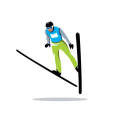Jumping skier vector sign