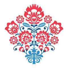 Polish Folk art pattern with flowers - wzory lowickie, wycinanka
