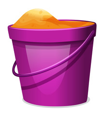 A violet pail with sand