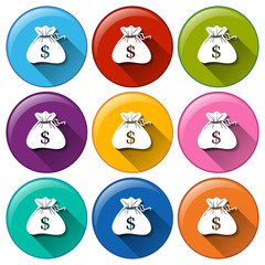 Round icons with sacks of money
