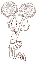 A simple sketch of a girl cheerdancing