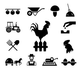 Rooster on fence surrounded by farm themed icons