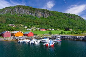 Garden Poster Scandinavia Norwegian village between sea and mountain