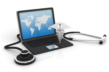 Stethoscope and medical symbol with  laptop