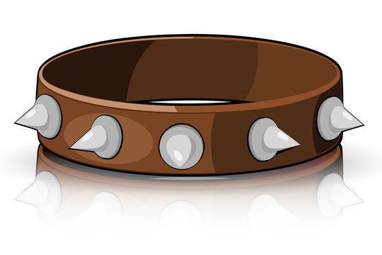 Collar brown with white spikes isolated on a white background. V