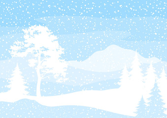 Christmas background, trees and snow