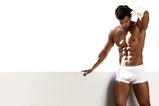 Sexy portrait male model in underwear