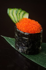 japanese cuisine. salmon roe on the background