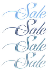 3D SALE text in varies colored on isolated background.