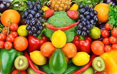 background of ripe fruits and vegetables