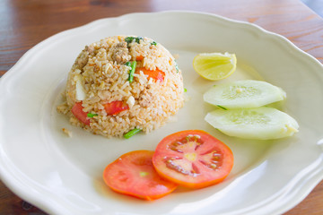 salted egg fried rice with pork , Thai food