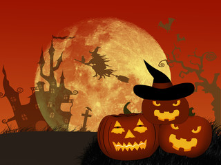 Halloween night background with pumpkin and castle.