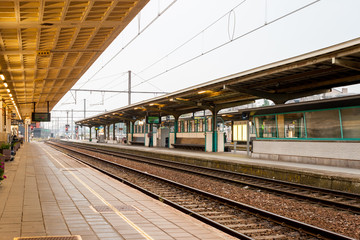 Deserted platform at the train station of Kortrijk