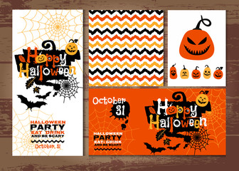 Halloween background of cheerful pumpkins. On the wood texture.