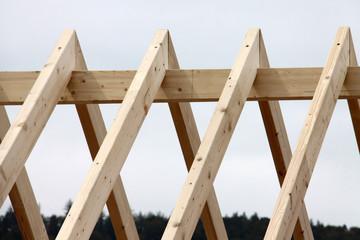 Dachstuhl bei Hausbau