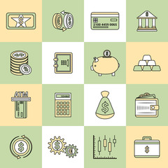 Money finance icons flat line