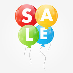 Color Glossy Balloons Sale Concept of Discount. Vector Illustrat