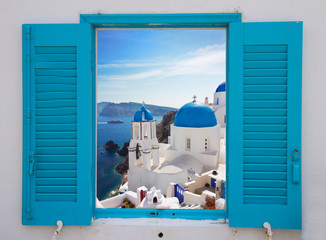 Foto auf Acrylglas Santorini window with view of caldera and church, Santorini