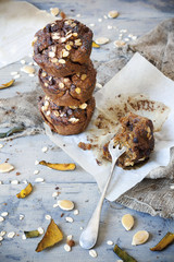 homemade muffins with pumpkin, chocolate and flakes