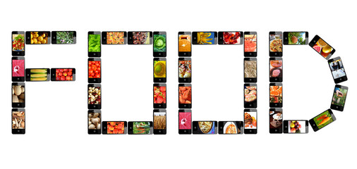 the word Food made from modern mobile phones