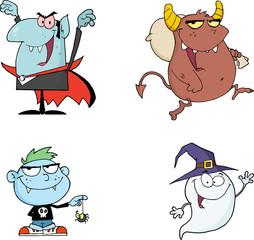 Obraz Halloween Cartoon Mascot Characters Series 1. Collection Set - fototapety do salonu