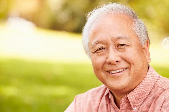 Portrait Of Smiling Senior Asian Man Sitting In Park