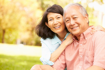 Portrait Of Senior Asian Couple Sitting In Park Together Wall mural