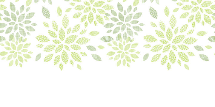 Fabric textured abstract leaves horizontal seamless pattern