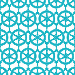 Nautical ship wheels abstract blue seamless pattern background