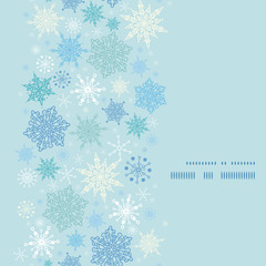 Vector falling snow vertical frame seamless pattern background