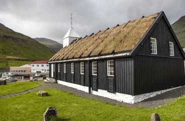 Turf house church Faroe Island, North Atlantic