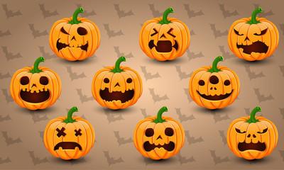 Set of 9 Halloween Pumpkins