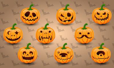 Set of face Halloween Pumpkins
