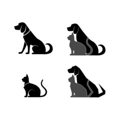 silhouette of a cat and dog for your design