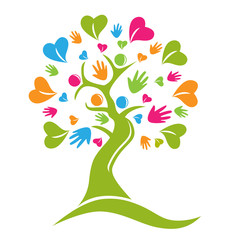 Tree hands and hearts figures logo icon vector
