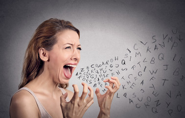 angry woman screaming, alphabet letters coming out of mouth