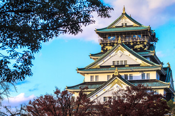Osaka Castle in Osaka, Japan during a colorful pastel summer sun