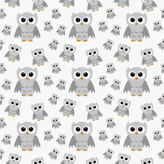 Gray Owls on White Textured Fabric Repeat Pattern Background
