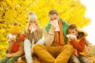 Familie Krank im Herbst