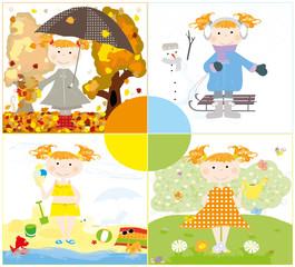little girl and 4 seasons- vector illustration