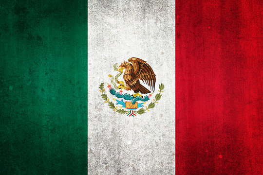 National flag of Mexico. Grungy effect.