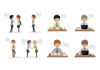 Business People With Speech Bubbles - Isolated On White