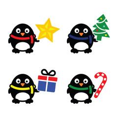 Christmas cute penguin vector icons set